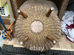 Pair (2) Conservatory Large Tub Chairs In Cane With Cushions And Table (makasa)