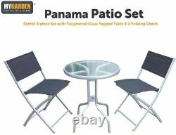 Panama Patio Table and Chairs Modern 3 Piece Garden Furniture Set & Glass Table