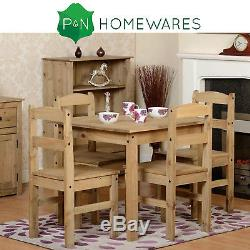Panama Pine Dining Table and 4 Chairs Set Wooden Dining Set Rustic Solid Pine