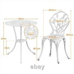 Patio Bistro Set 3 Piece Outdoor Dining Table and Chairs Garden Furniture Set