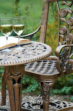 Patio Set Bistro Table and Chairs Garden Furniture Outdoor'Rose' Design Bronze