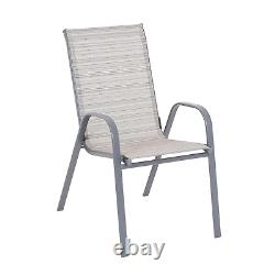 Patio Table and Chairs With Parasol 6 Piece Garden Furniture Dining Set Grey