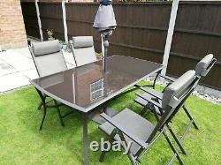 Patio garden table and reclining chair set
