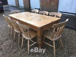 Pine Farmhouse Dining Table with Cutlery Drawer and 8 Chairs