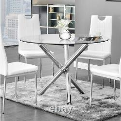 ROUND Glass/Chrome Legs DINING TABLE AND LEATHER CHAIRS Kitchen 2-4Seater Bistro