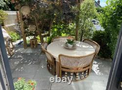 Rare Vintage Bamboo Rattan Dual Height Table And Chairs