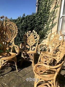 Rare retro rattan peacock chair and table set