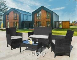 Rattan 4 Piece Set Garden Conservatory Patio Furniture Table Sofa And Chairs