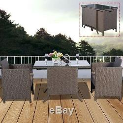 Rattan Bistro Set 3pcs Outdoor Cube Set Patio Furniture Garden Table And Chairs