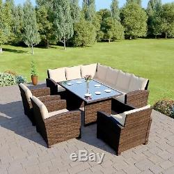 Rattan Dining Furnitue Set 9 seat Grey Black Brown Outdoor Table and Chair