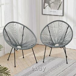 Rattan Egg Shape Garden Bistro Tea Table and 2 Chair Outdoor Patio Furniture Set