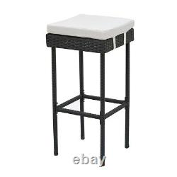 Rattan Garden Bar Set Bar Table and 2 Stools with Storage Wicker Shelves Outdoor