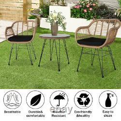 Rattan Garden Bistro Set Conservatory Outdoor Patio Furniture 1 Table & 2 Chairs