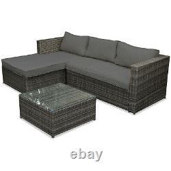 Rattan Garden Corner Sofa Table Chair Furniture Set Grey Patio Outdoor Seating