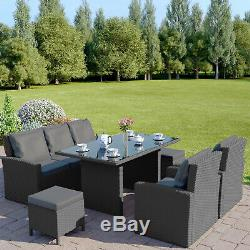 Rattan Garden Dining Table Sofa and Chair Set Stool Black Brown Grey