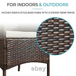 Rattan Garden Furniture 3pc Bistro Set Table and Chairs Outdoor Patio Furniture