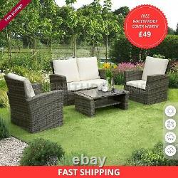 Rattan Garden Furniture 4 Piece Patio Set Table Chairs Grey Or Brown Cushions