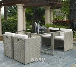Rattan Garden Furniture Cube 4 Seater Dining Set with Dining Table and Chairs