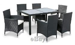 Rattan Garden Furniture Dining Set 7 PCS Garden Table and 6 Chairs Furniture Set
