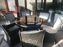 Rattan Garden Furniture Dining Table And 6 Chairs Outdoor Patio Conservatory