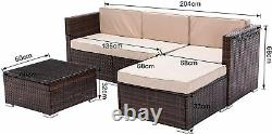 Rattan Garden Furniture Outdoor 5pcs Patio Sofa Set chairs Table (Rupert Brown)