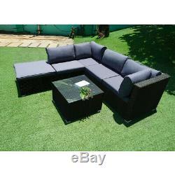 Rattan Garden Furniture Patio Corner Sofa Set PE Wicker Outdoor Table and chairs