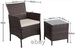 Rattan Garden Furniture Set 3 Piece Bistro Set Garden Patio Chairs Table Outdoor