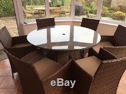 Rattan Garden Furniture Set Glass Top Table And Chairs Outdoor Patio