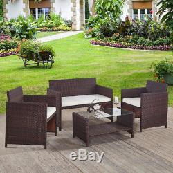 Rattan Garden Furniture Set Glass Top Table And Chairs Sofa Outdoor Patio
