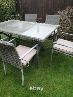 Rattan & Metal Table And Six Chairs Garden Patio Set