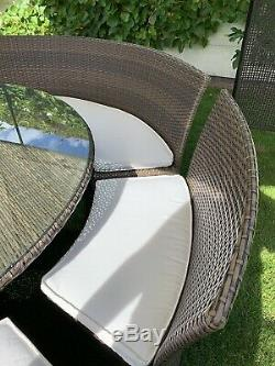 Rattan Round Dining Table And Chairs 8-10 Seater With Gazebo
