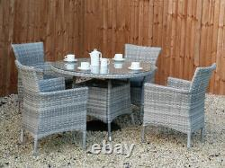Rattan Round Garden Furniture Dining Table And 4 Chairs Outdoor Patio Set