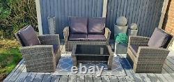 Rattan Set, Garden Furniture, Patio, 2 chairs 1 sofa 1 table, Garden 4 Seater