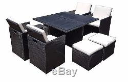 Rattan Wicker Garden Outdoor Cube Table And Chairs Furniture Patio Seater Set