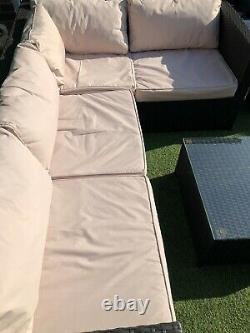 Rattan garden furniture Corner Sofa Set Black Arm Chair And Table With Cushions