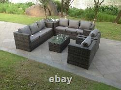 Rattan sofa set with 2 table chairs footstools outdoor garden furniture