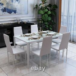 Rectangle Dining Glass Table And 6 PU Chairs Set Kitchen Dinning Room White NEW