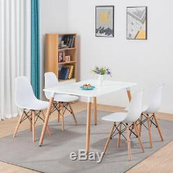 Rectangle Dining Room Table and 4 Chairs Set White Eiffel Retro Style Wood