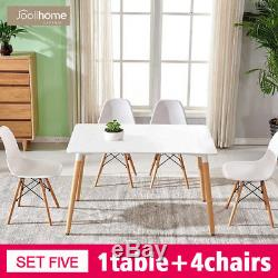 Rectangle Dining Table And 2/4/6 White Eiffel Retro Design Wood Style Chairs Set