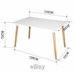 Rectangle Dining Table And 4 Chairs Set Dinning Kitchen Living Room Retro style