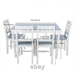 Rectangle Dining Table and 4 Chairs Set Seat Kitchen Dinning Room White & Grey