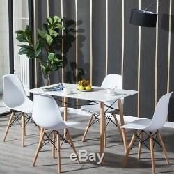 Rectangle Dining Table and 4 Chairs Set Study Desk Wood Legs Kitchen Home White