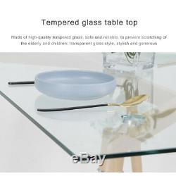 Rectangle Dining Table and 4 Chairs Set Tempered Glass Kitchen Dining Set Home