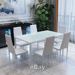 Rectangle Glass Dining Table And Faux Leather Chair White 6 Chairs Furniture Set