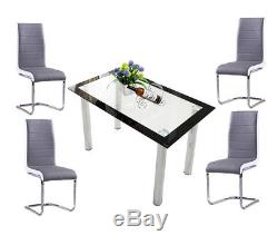 Rectangle Glass Dining Table Set And 4 Dining Chairs Faux Leather Kitchen Home