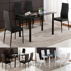 Rectangle Glass Dining Table Set and 4/6 Faux Leather Chairs Kitchen Furniture