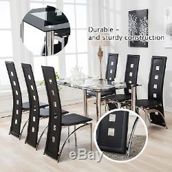 Rectangle Glass Dining Table and 4/6 Black Faux Leather High Back Chairs Sets