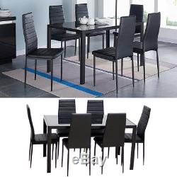 Rectangle Tempered Toughened Glass Dining Table and 6 Chairs Kitchen Dinner Set