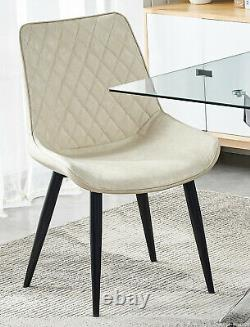 Rectangular Glass Dining Table and 2/4 Chairs Faux Suede Padded Seat Chrome Legs