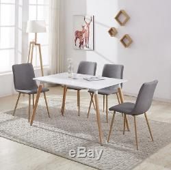 Rectangular White Dining Table 4/6 Chairs Set Retro Design Wood Metal Fabric New